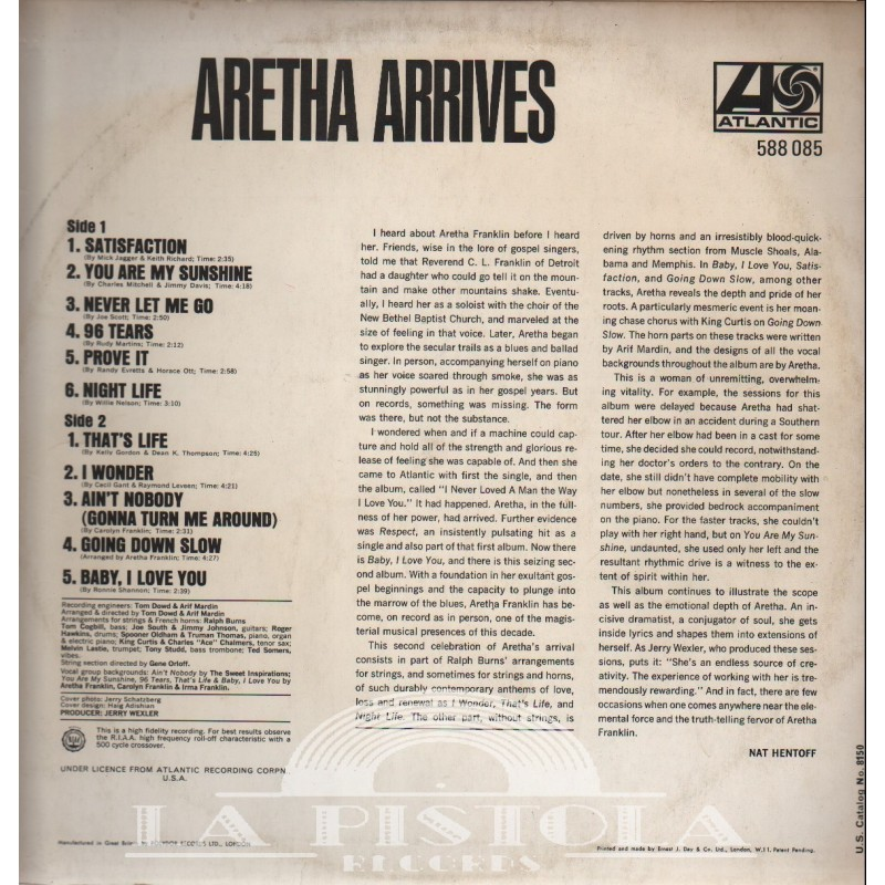 Aretha Franklin - Aretha Arrives - La-Pistola-Records com